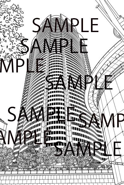 漫画背景素材「高層ビル(六本木ヒルズ)」 イラスト