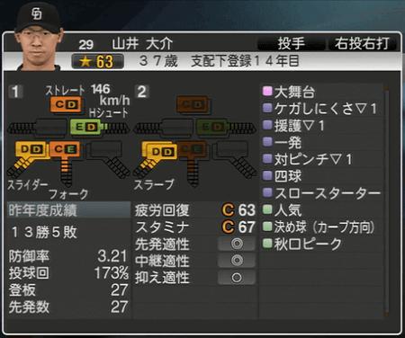 山井大介 プロ野球スピリッツ2015 ver1.10