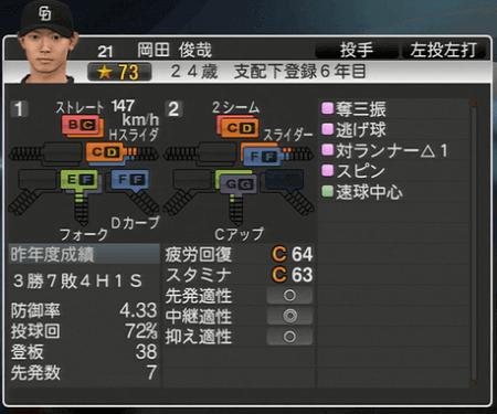 岡田俊哉 プロ野球スピリッツ2015 ver1.10