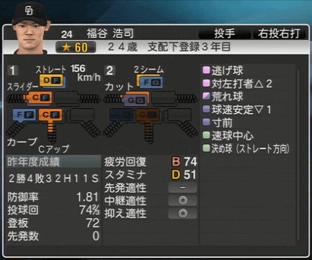 福谷浩司 プロ野球スピリッツ2015 ver1.10