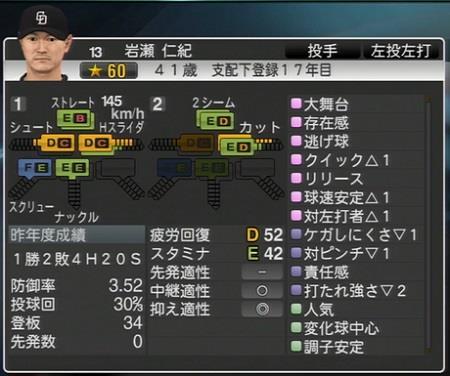 岩瀬仁紀 プロ野球スピリッツ2015 ver1.10