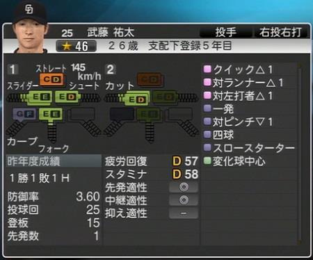 武藤祐太 プロ野球スピリッツ2015 ver1.10