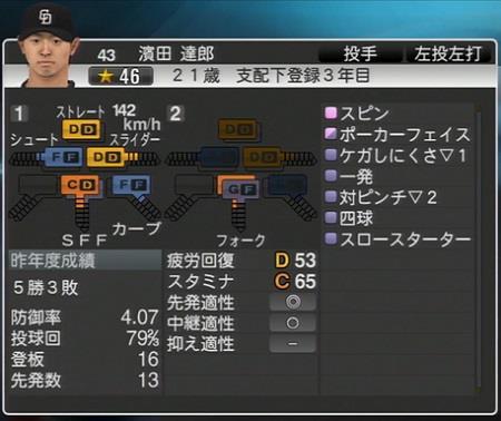 濱田達郎 プロ野球スピリッツ2015 ver1.10