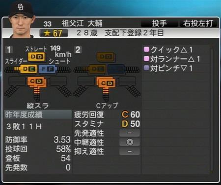 祖父江大輔 プロ野球スピリッツ2015 ver1.10