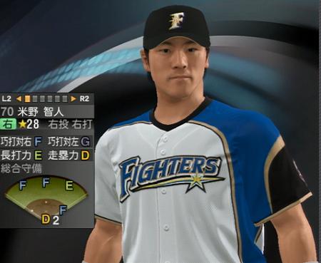 米野智人外野手(33) 新ユニフォーム プロ野球スピリッツ2015
