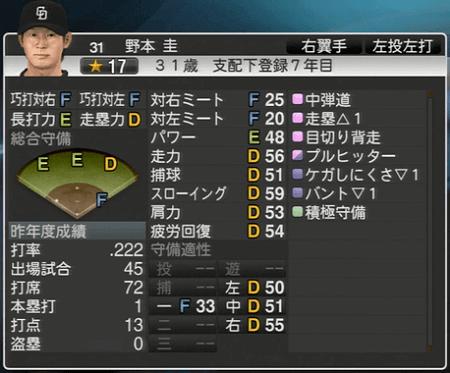 野本圭 プロ野球スピリッツ2015 ver1.10
