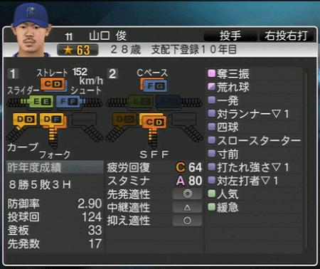 山口俊 プロ野球スピリッツ2015 ver1.10