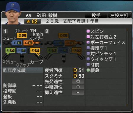 砂田 毅樹 プロ野球スピリッツ2015 ver1.10