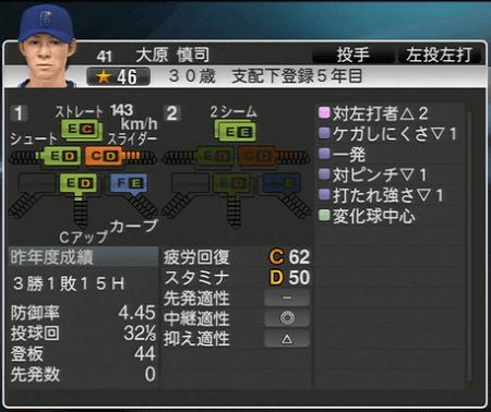 大原慎司 プロ野球スピリッツ2015 ver1.10