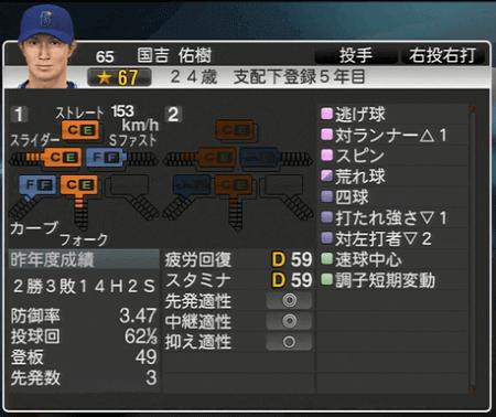 国吉佑樹 プロ野球スピリッツ2015 ver1.10