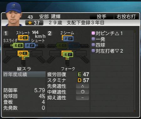 安部建輝 プロ野球スピリッツ2015 ver1.10