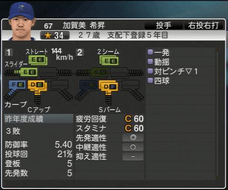 加賀美希昇 プロ野球スピリッツ2015 ver1.10