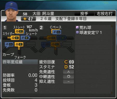 大田阿斗里 プロ野球スピリッツ2015 ver1.10