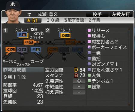 成瀬善久 プロ野球スピリッツ2015 ver1.10