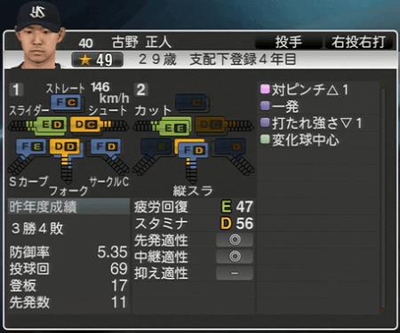 古野正人 プロ野球スピリッツ2015 ver1.10