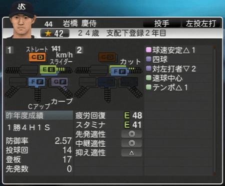 岩橋慶侍 プロ野球スピリッツ2015 ver1.10