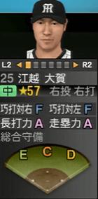 江越大賀2016年 プロスピ2015