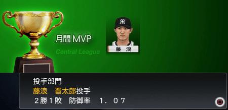 藤浪晋太郎が月間MVP プロスピ2015