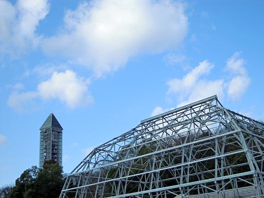 名古屋のスカイタワーと建設中の温室。