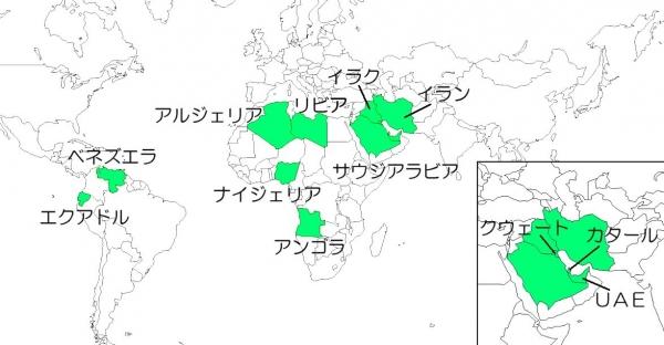 OPEC加盟国n