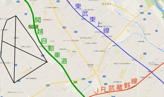 三富新田の地図