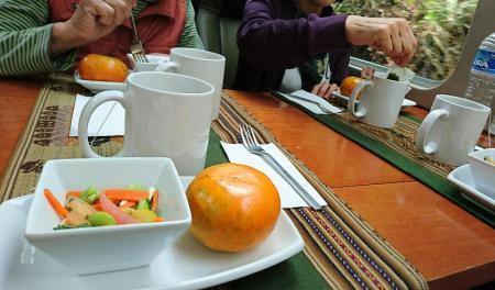 マチュピチュへ向かう展望列車の軽食
