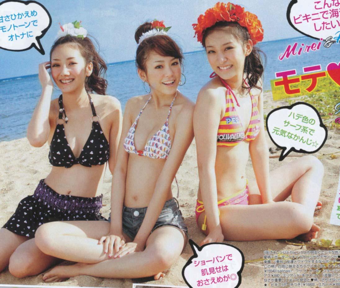 雑誌「SEVENTEEN」で水着を着た波瑠と桐谷美玲と武井咲