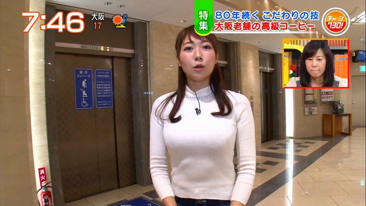 ニットを着たGカップお天気お姉さん・穂川果音の着衣おっぱい
