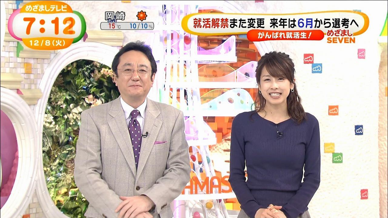 「めざましテレビ」でピチピチニット衣装を着たカトパンの着衣おっぱい