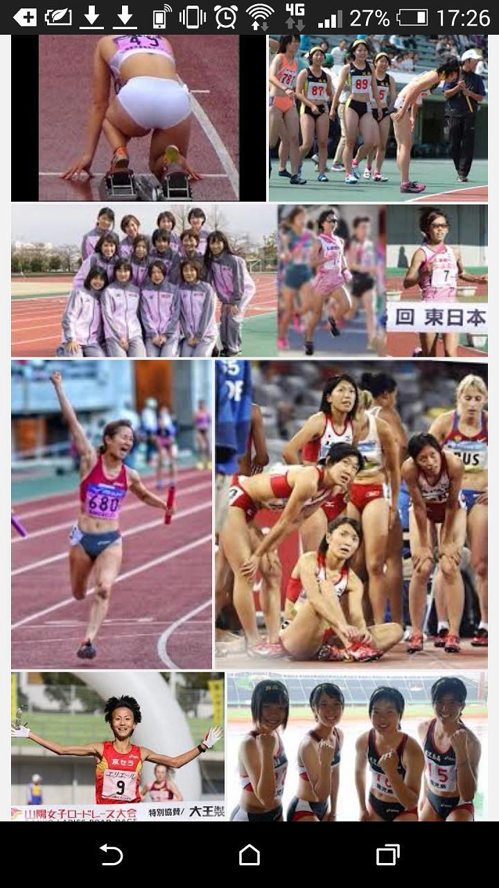 ユニフォームを着た女子陸上の選手