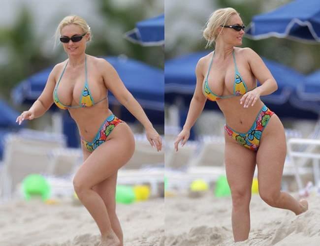 ビーチでビキニの水着を着たクロアチアの大統領