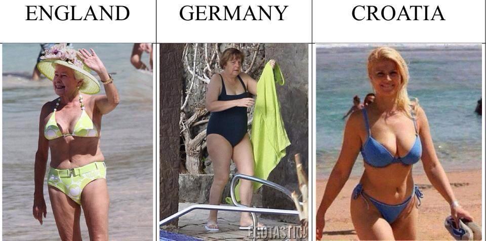 ビキニの水着を着たイギリス・ドイツ・クロアチアの大統領