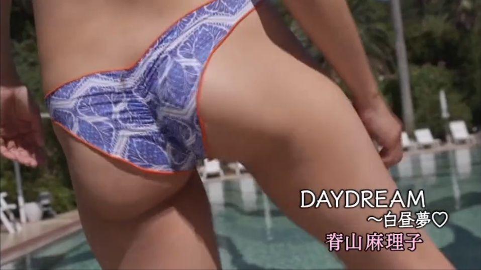 脊山麻理子のイメージビデオDVD「DAY DREAM 白昼夢」キャプチャ画像、ずぶ濡れの水着が食い込んだ脊山麻理子のお尻