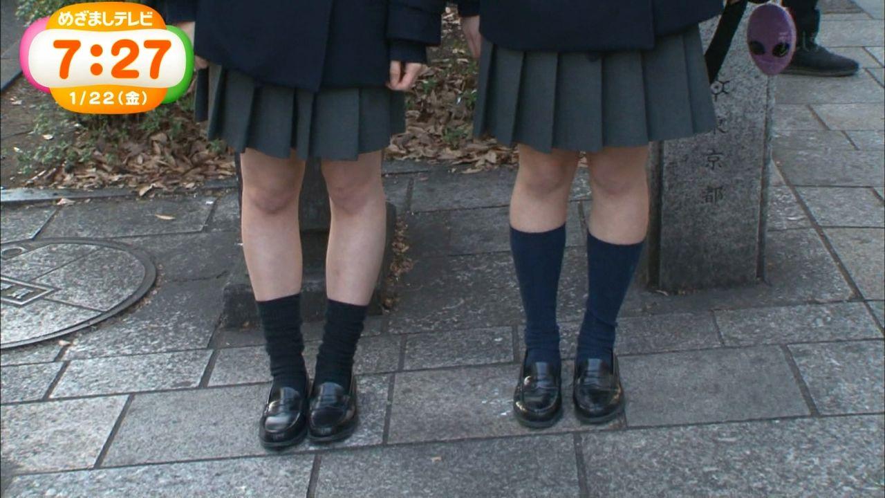 フジ「めざましテレビ」真冬にミニスカートで生脚の女子高生特集