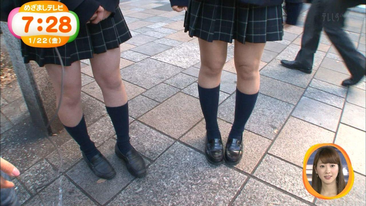 フジ「めざましテレビ」真冬にミニスカートで生足の女子高生特集