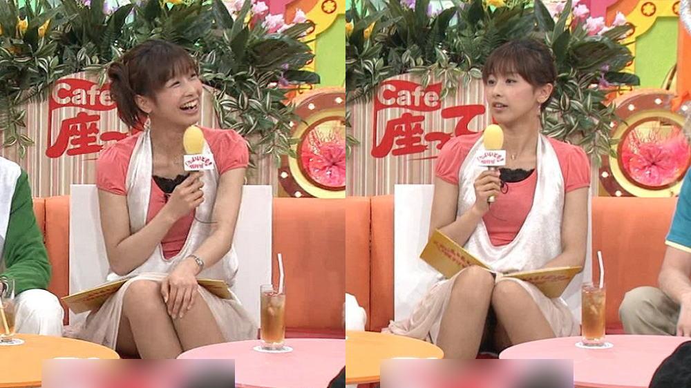スカートで座って太ももの奥まで丸出しになってる加藤綾子
