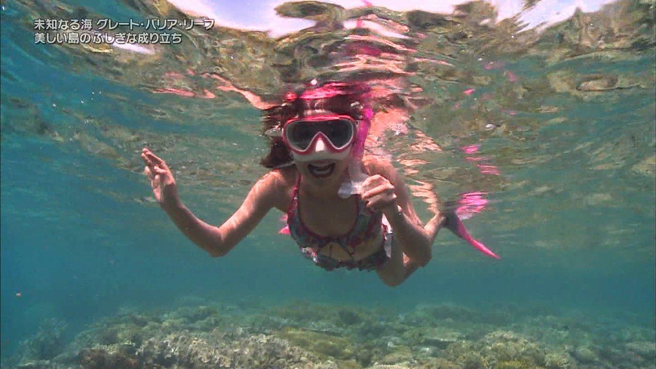 日立「世界ふしぎ発見!」で水着でレポートするミステリーハンターの鉢嶺杏奈