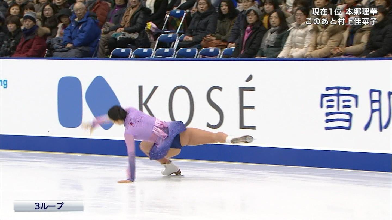 フィギュアスケートで転倒した永井優香のハミ尻