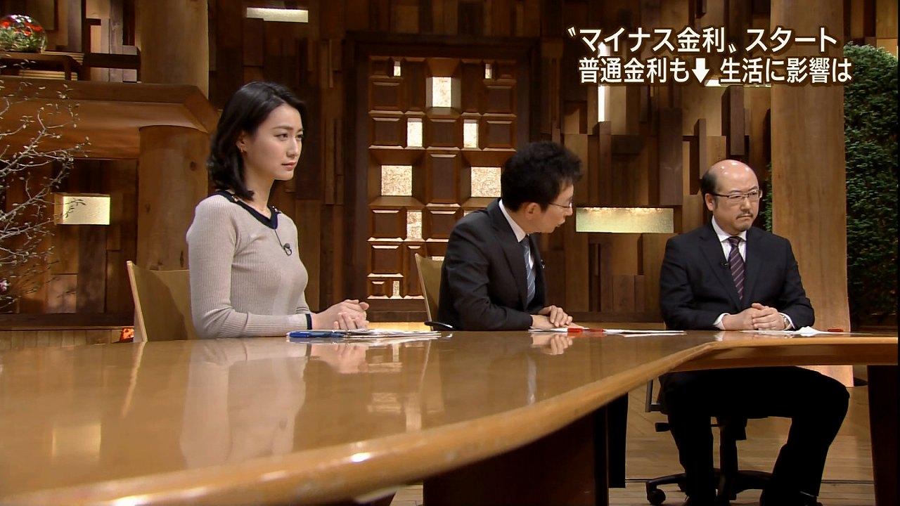 「報道ステーション」で胸が目立つ衣装を着た日の小川彩佳アナの着衣巨乳