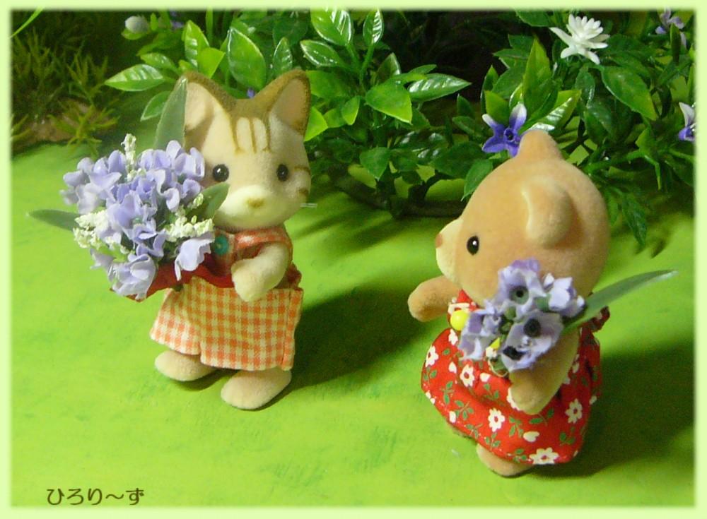森のおはなし クマ 女子 花束