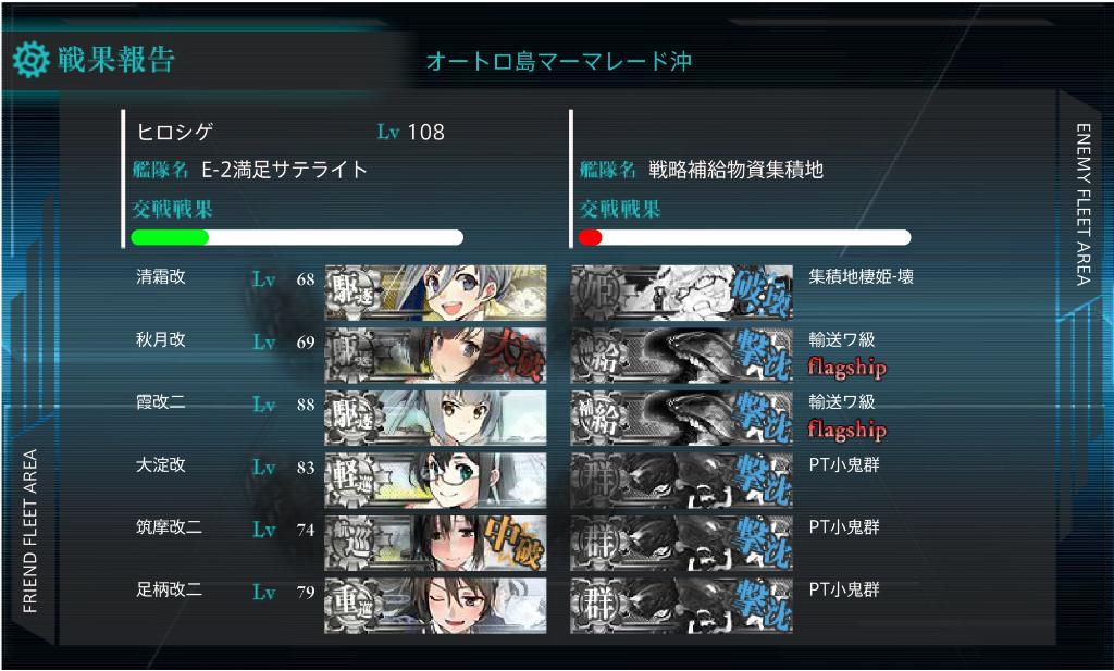 艦これ16冬イベE-2甲 クリア画面