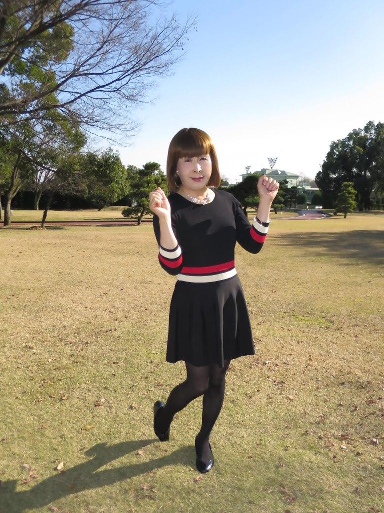 赤白ボーダー黒ワンピA(3)