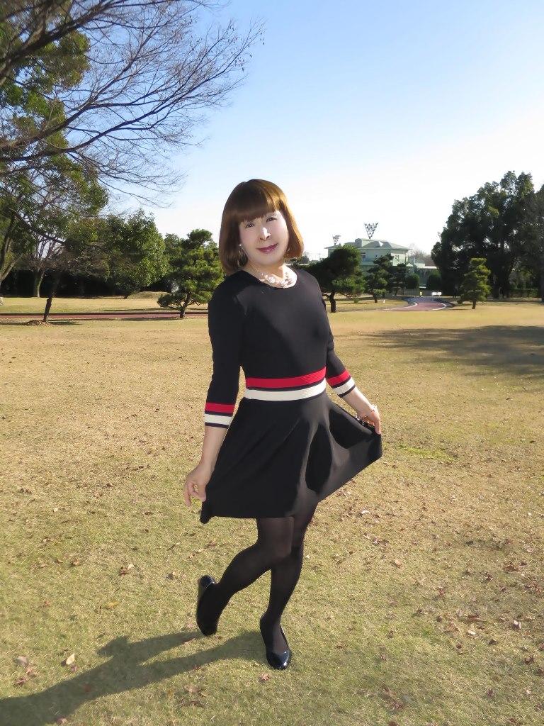 赤白ボーダー黒ワンピA(5)