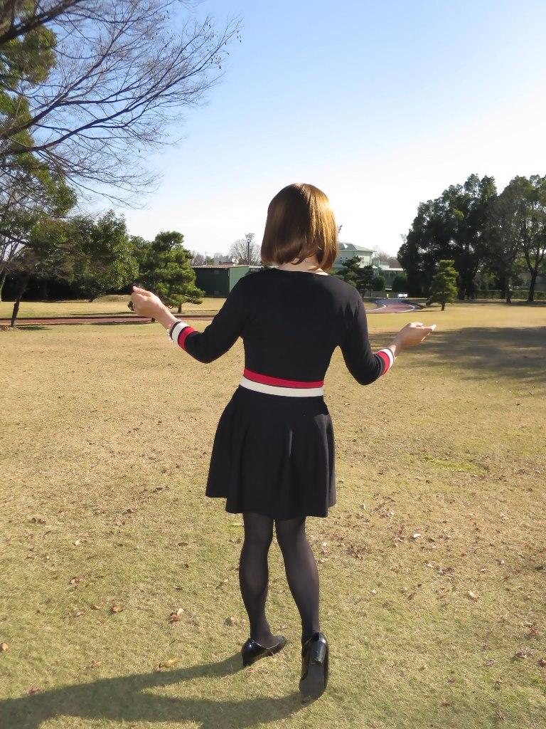 赤白ボーダー黒ワンピA(6)
