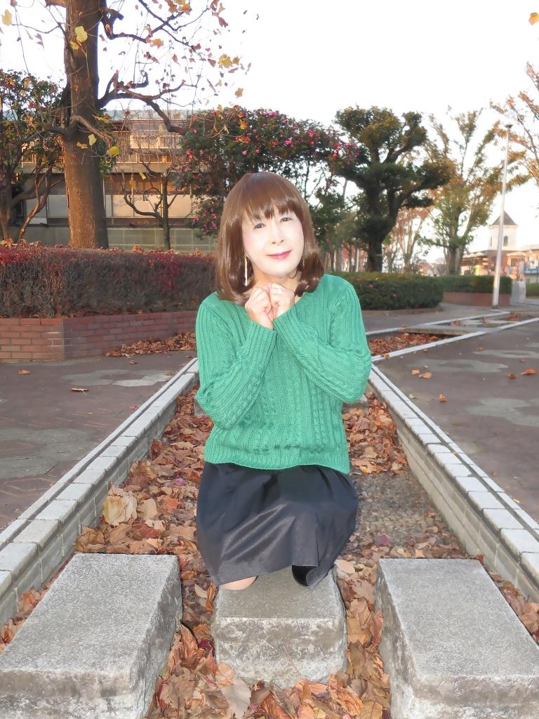 緑セーター黒スカートC(3)