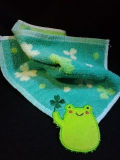 カエルアップリケタオルハンカチ