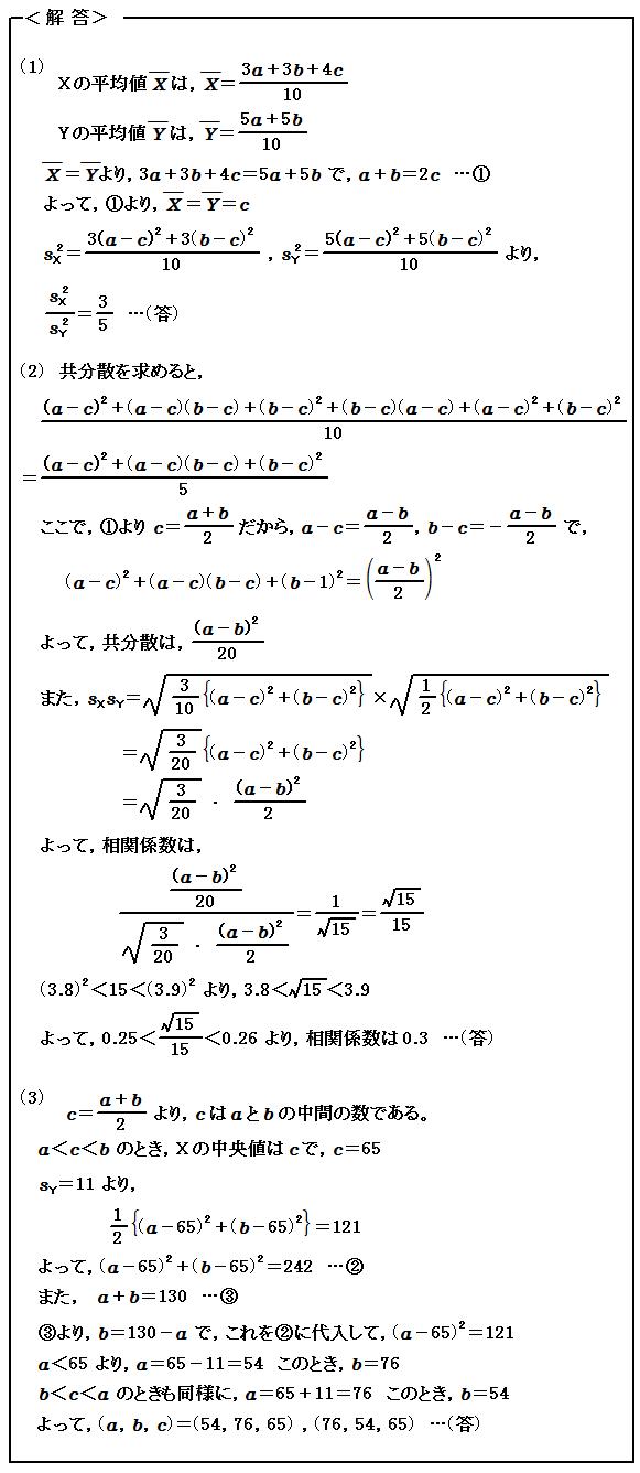 2015 一橋大学 第5問(選択問題) データ分析 解答