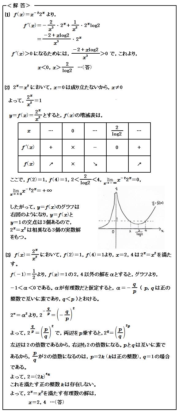 2015 名古屋大学理系(医学部を含む) 第1問 微分・方程式・整数問題 解答