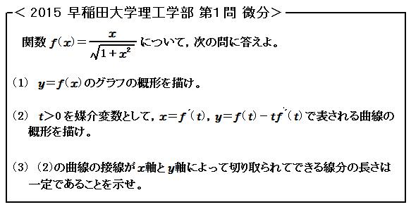 2015 早稲田大学理工学部 第1問 微分