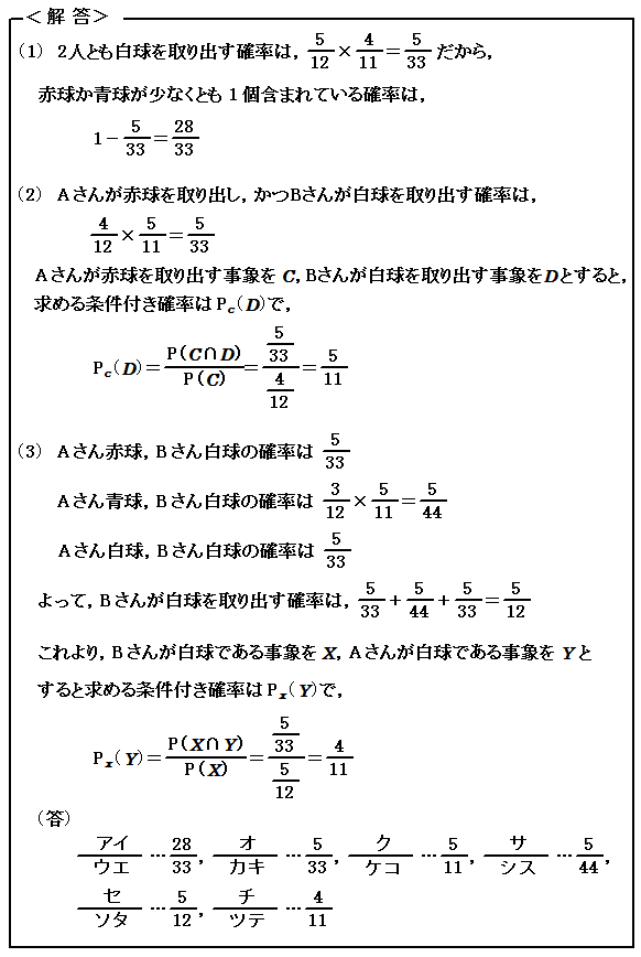 2016 センター試験 数Ⅰ・A 第3問(選択問題) 確率 詳細解説 解答